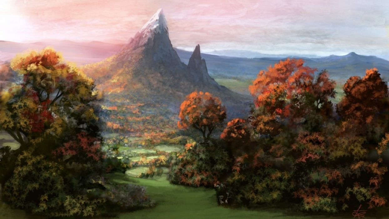 mountain forest sky autumn painting  wallpaper