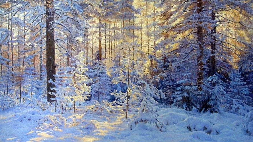 winter forest trees snow sun painting Gennady Kirichenko wallpaper
