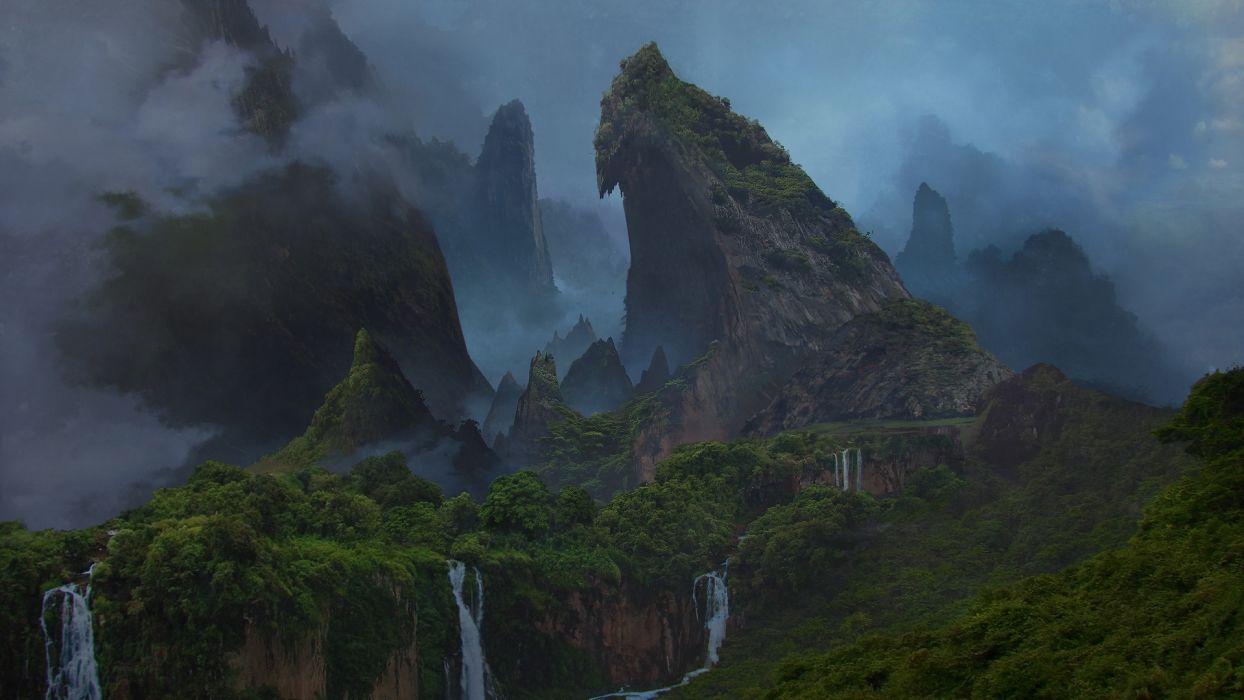art nature fantasy waterfall wallpaper
