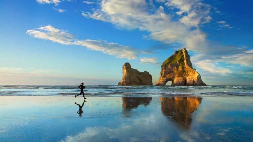 athlete jogging sea coast sand wallpaper
