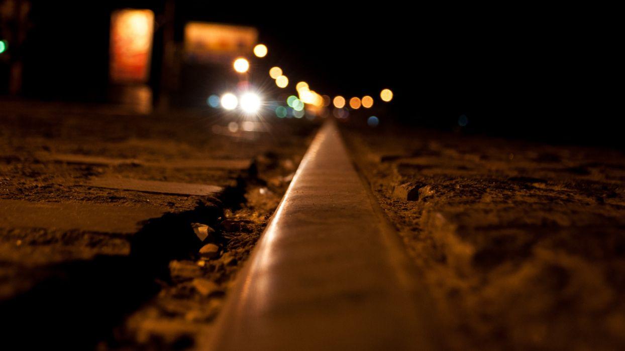 city night lights rails macro tram tracks  wallpaper