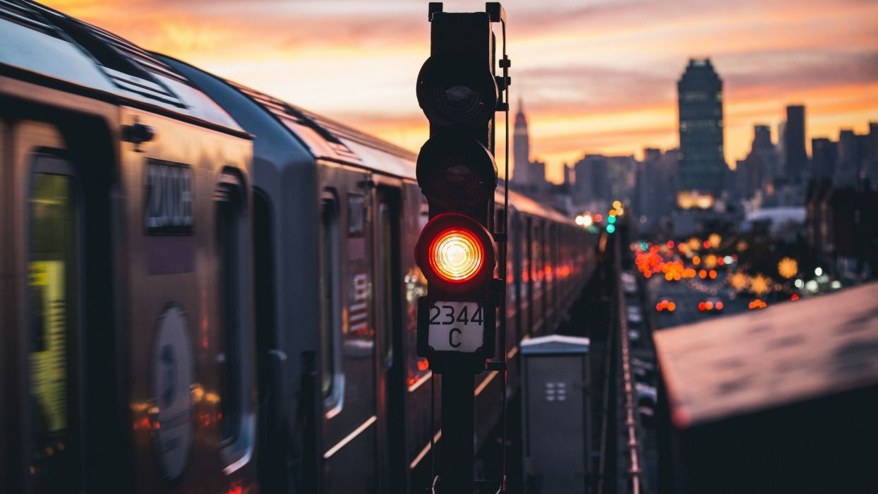 New York USA skyscrapers evening city train  wallpaper
