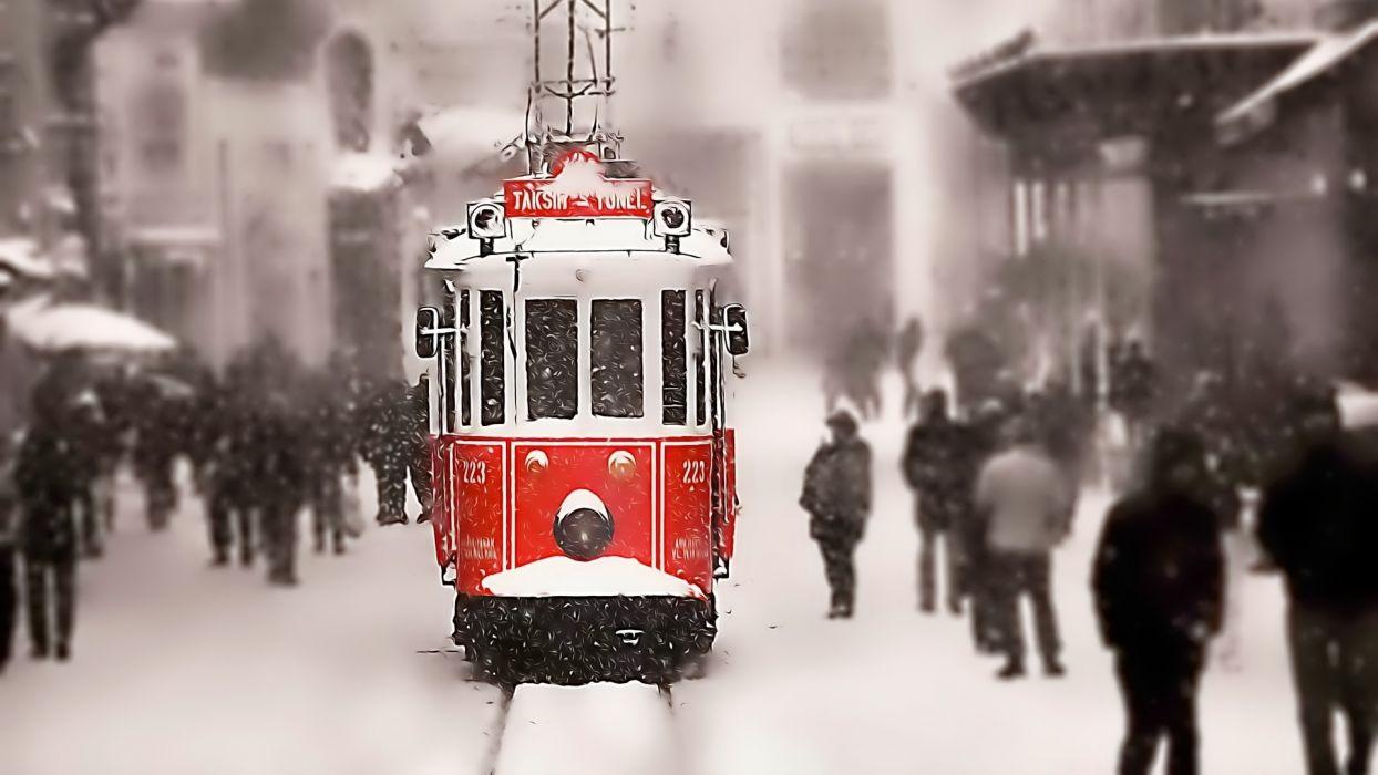 winter snow tram tracks people istanbul turkey taksim wallpaper