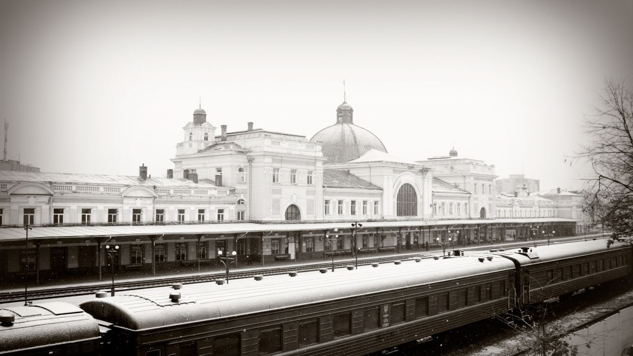 snow winter train railway railway station Ivano-Frankivsk  wallpaper