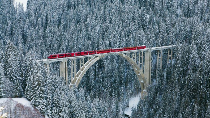 switzerland alps mountains forest winter nature train bridge train super photo wallpaper
