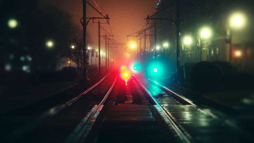 railway way city evening moving night shunting signals supports power transmission line wallpaper