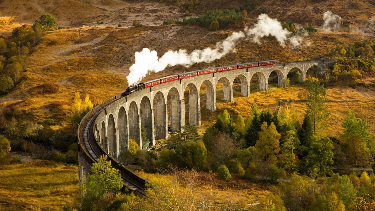 train railway bridge train composition autumn train  wallpaper