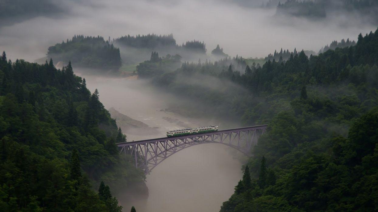 train landscape photo bridge nature mountains mist river locomotive  wallpaper