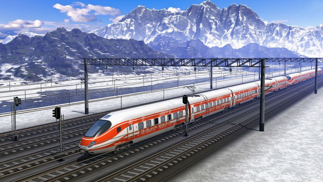 train locomotive speed nature mountains path snow beautiful  wallpaper