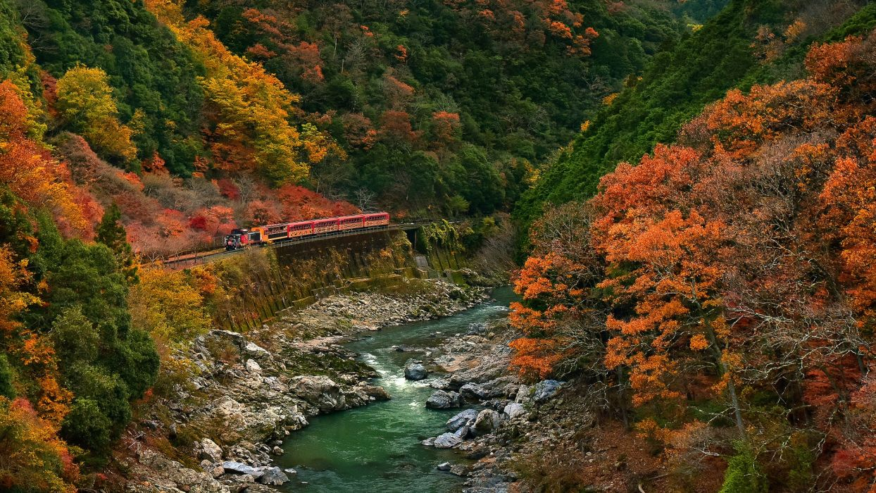 train mountain forest autumn river nature wallpaper