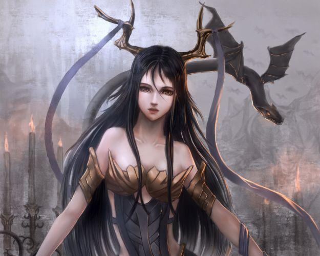 Women demon dark fantasy artistic wallpaper