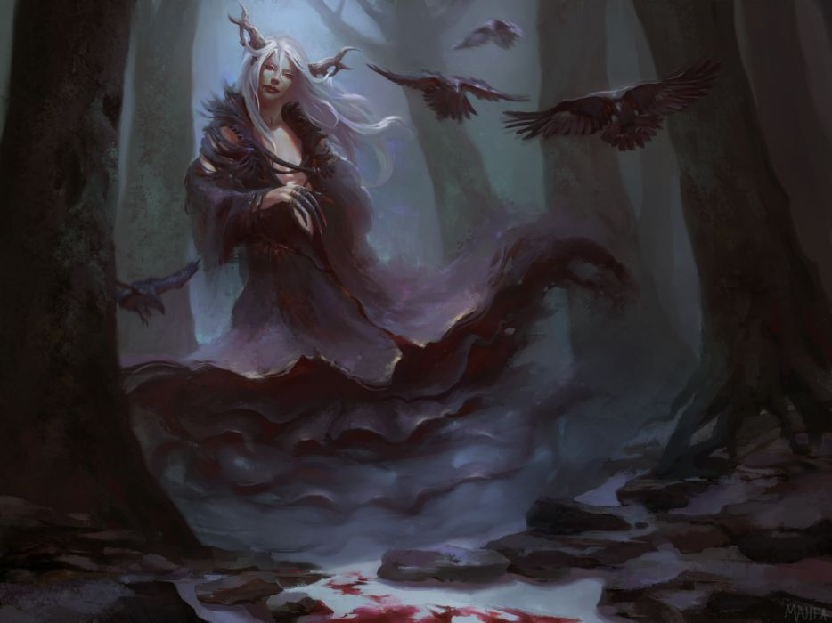 Women demon dark fantasy artistic wallpaper
