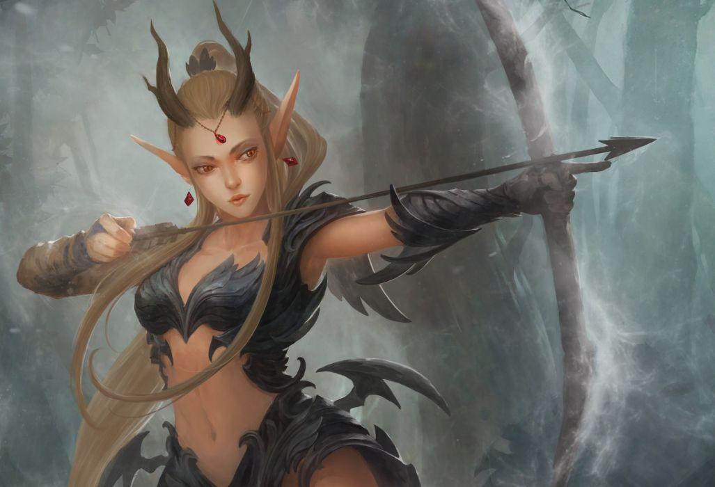 Women archer warrior dark fantasy artistic wallpaper