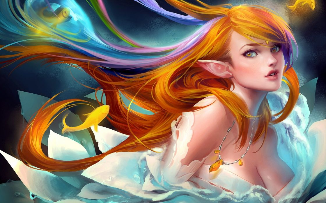 Women elf fantasy artistic wallpaper