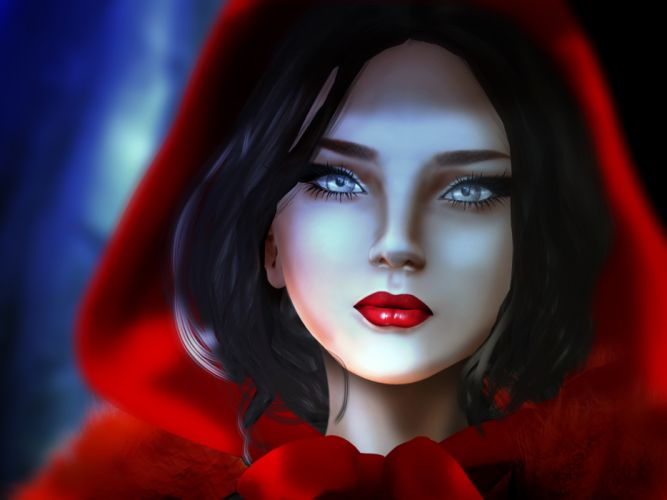 Red Riding Hood fantasy original artistic woman girl wolf wolves wallpaper