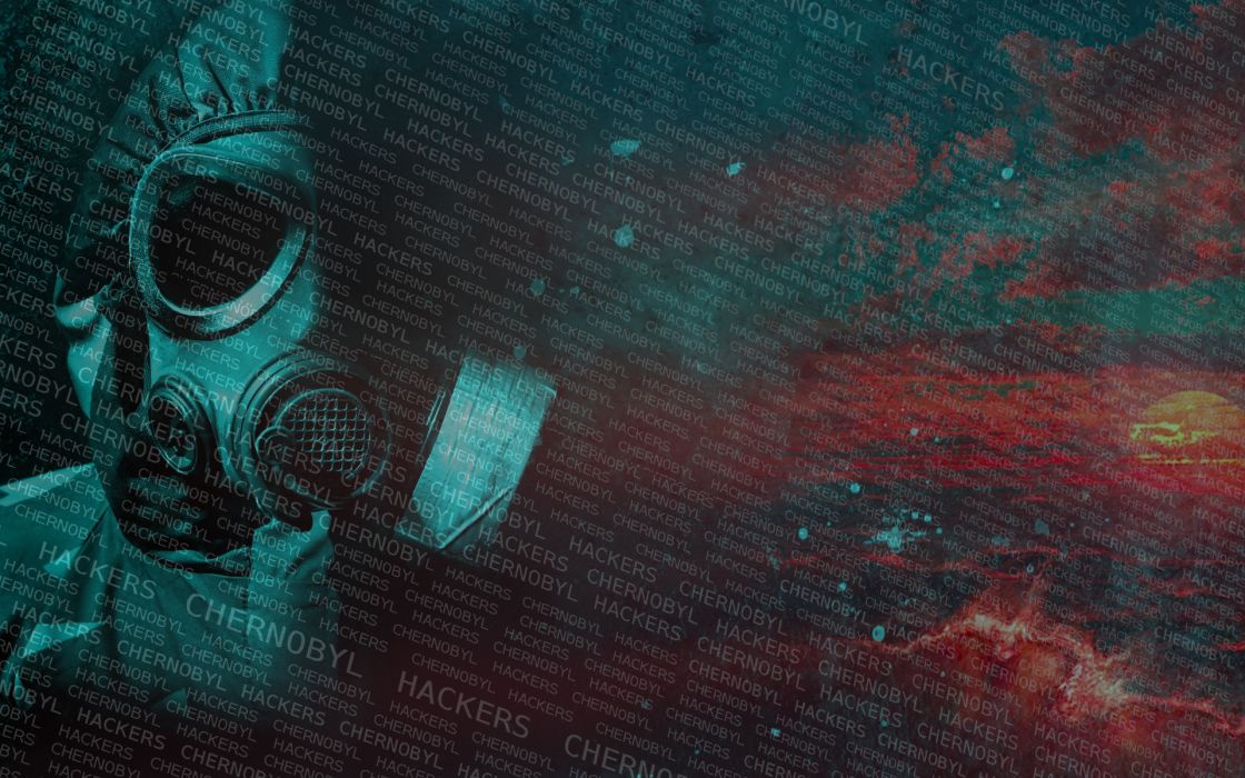 chernobyl hackers mask man soldier masked gas war paradise abstrate dark sky group art  wallpaper
