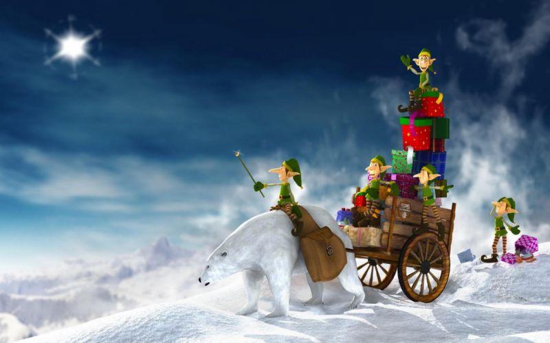 duendes regalos navidad oso wallpaper