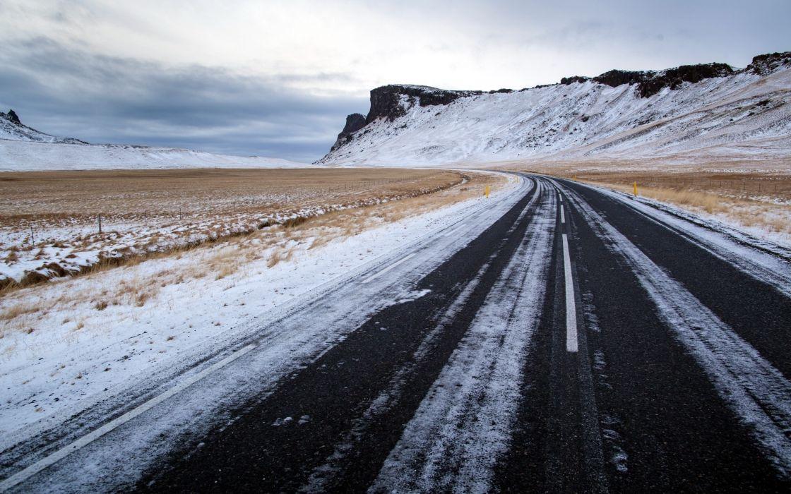 carretera invierno nieve wallpaper
