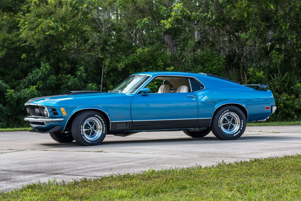 1970 FORD MACH-1 MUSTANG cars fastback blue wallpaper
