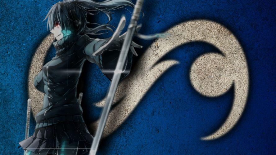 duzeru linux logo logotype anime sword blade girl woman assassin ninja wall texture grafiti paint gnu distro distribuition wallpaper