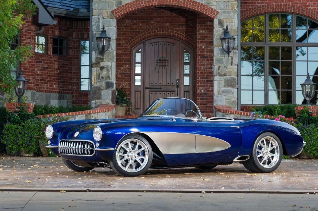 1957 chevy corvette convertible cars classic modified blue wallpaper