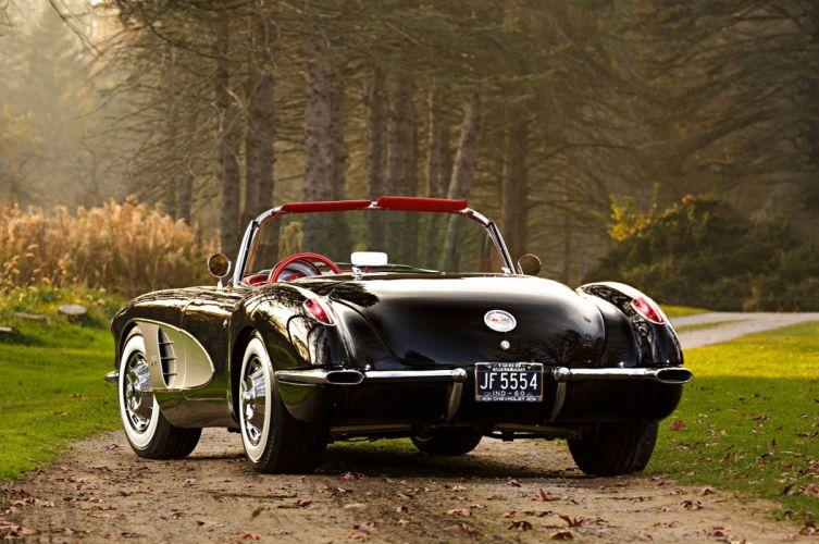 1960 chevy Corvette (c1) black classic cars Car wallpaper