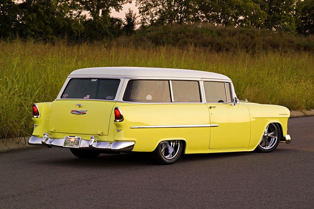 1955 Chevy 210 Handyman wagon cars yellow modified wallpaper