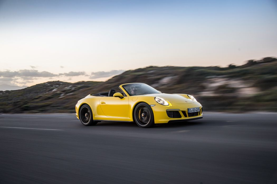 Porsche 911 Carrera (4) GTS Cabriolet cars yellow (991) 2017 wallpaper