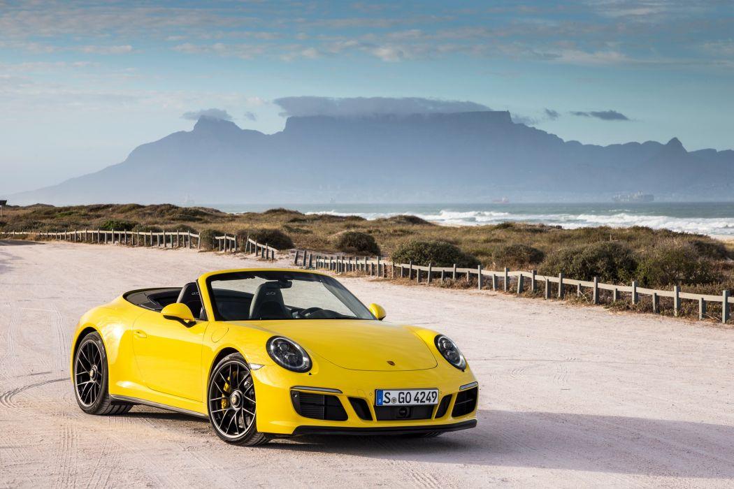 Porsche 911 Carrera (4) GTS Cabriolet cars yellow (991) 2017 wallpaper