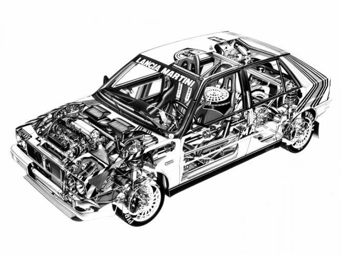Lancia Delta HF Rally Car Cutaway wallpaper