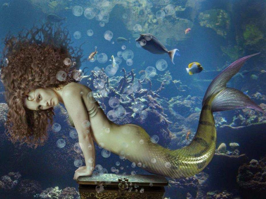sirena fondo mar fantasia wallpaper