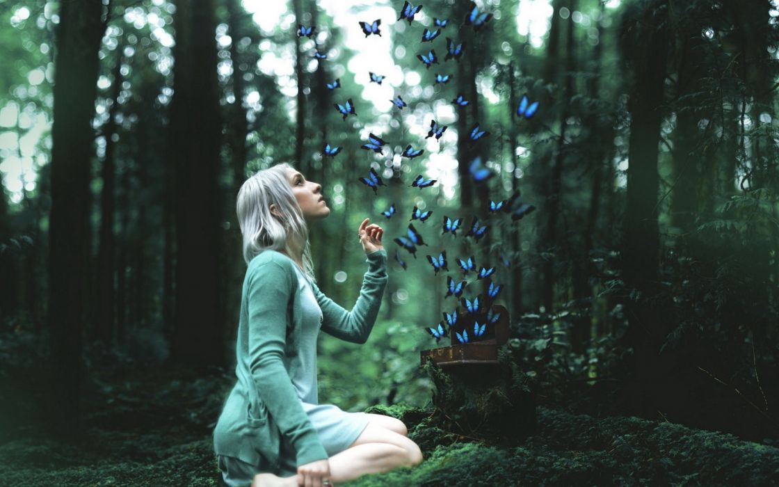 Alone-girl-forests-with-butterflies-miss-you wallpaper