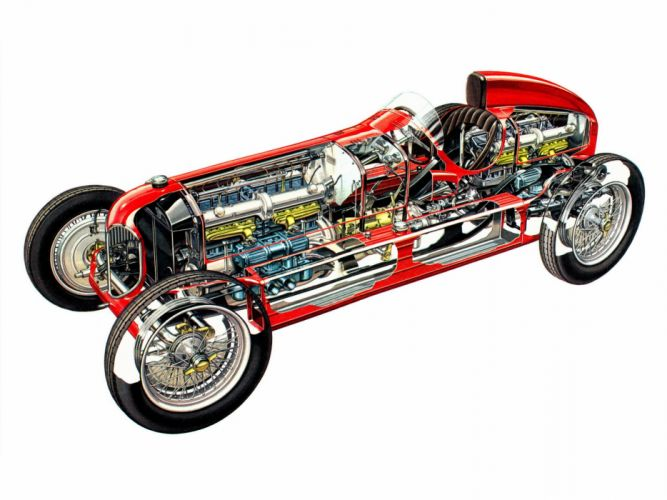 Alfa Romeo 16C Bimotore Classic Race Car Gran Prix Cutaway wallpaper