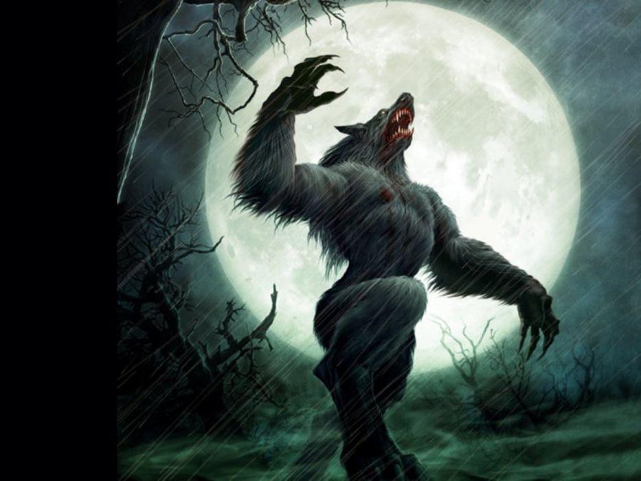 hombre lobo fantasia luna llena wallpaper