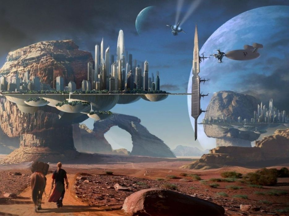 naves planeta alienigena sci-fi wallpaper