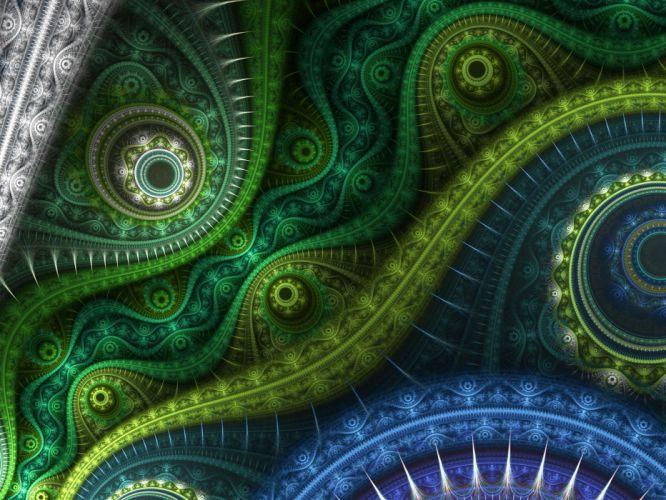 fractal abstracto verde azul wallpaper