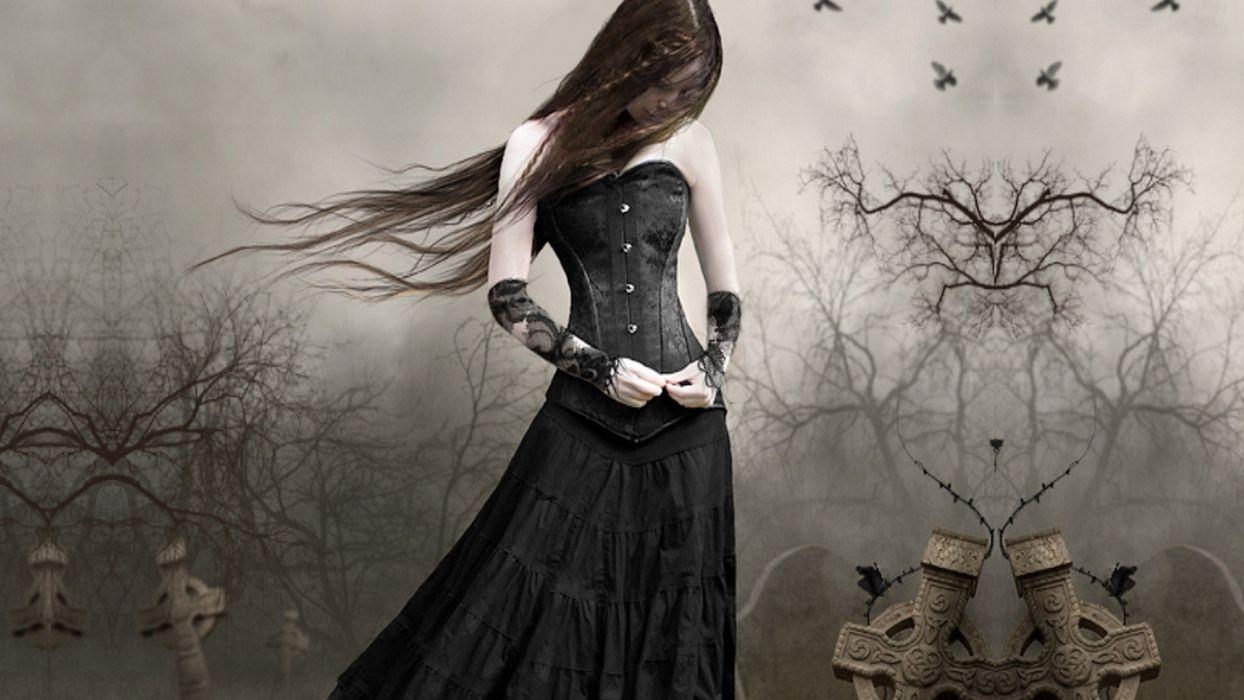 True-love-miss-you woman dark dress long hair wallpaper