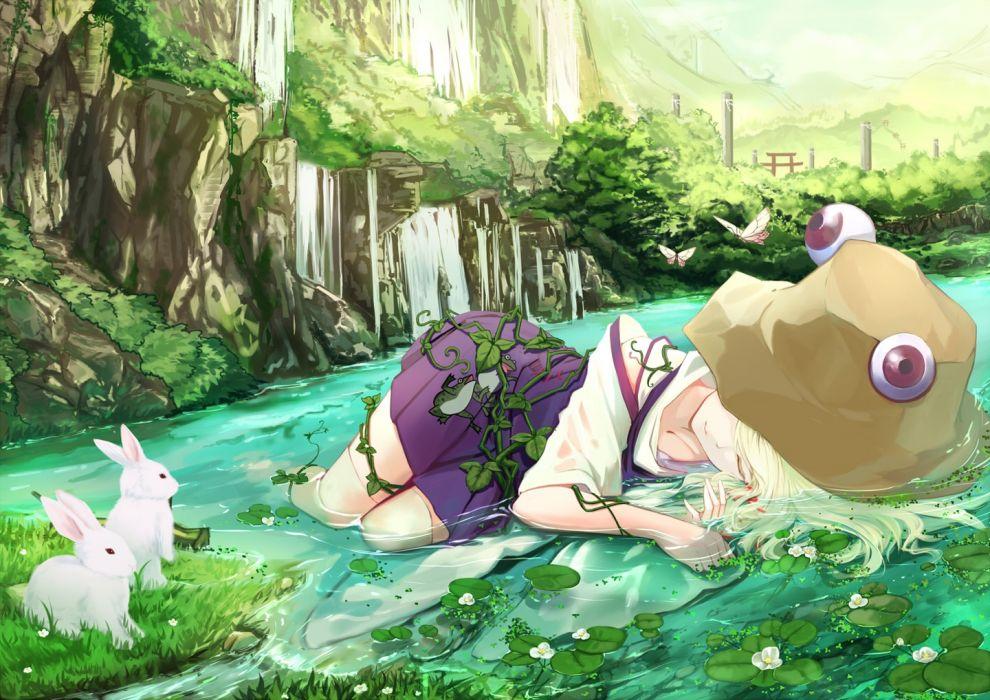 animal blonde hair butterfly flower rabbit skirt sleep thigh highs water wet Touhou wallpaper