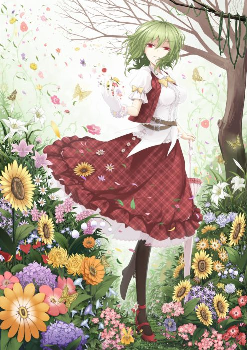 ahoge butterfly flower gloves green hair jewelry pantyhose red eyes ribbon short hair skirt smile tree umbrella Touhou Characters Kazami Yuuka wallpaper