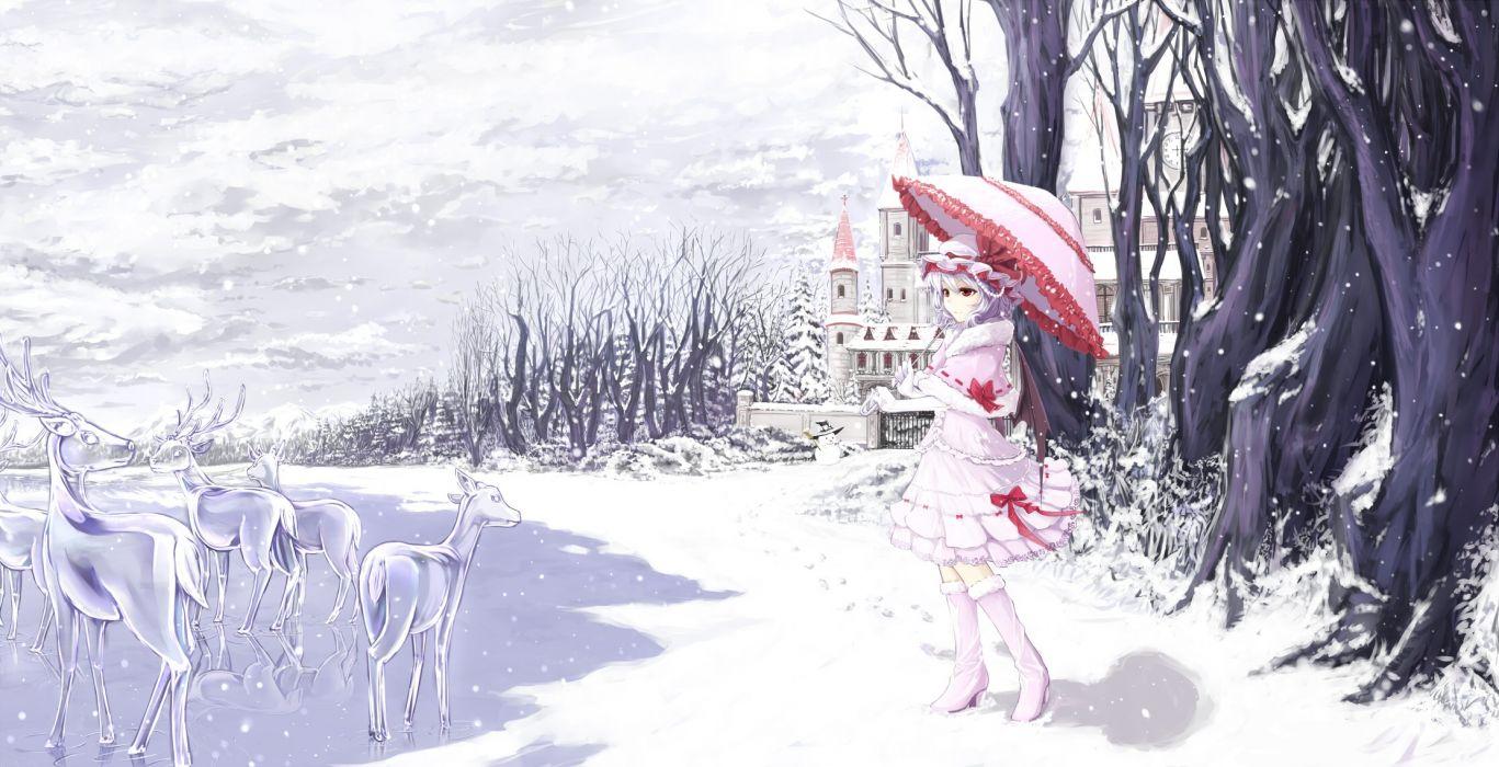 touhou anime girl snow winter dress animal deer umbrella wallpaper