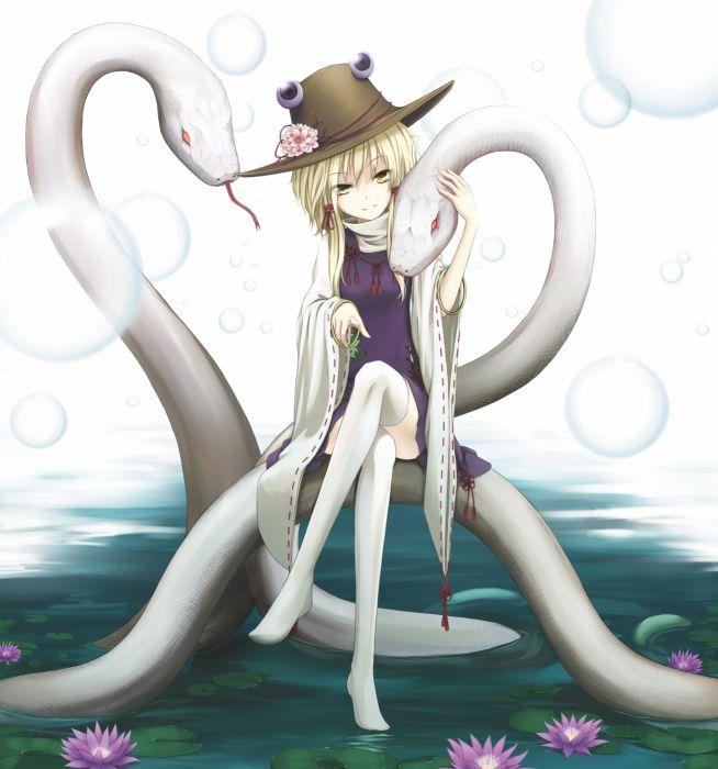 animal blonde hair dress flower hat long hair ribbon smile water yellow eyes Touhou wallpaper