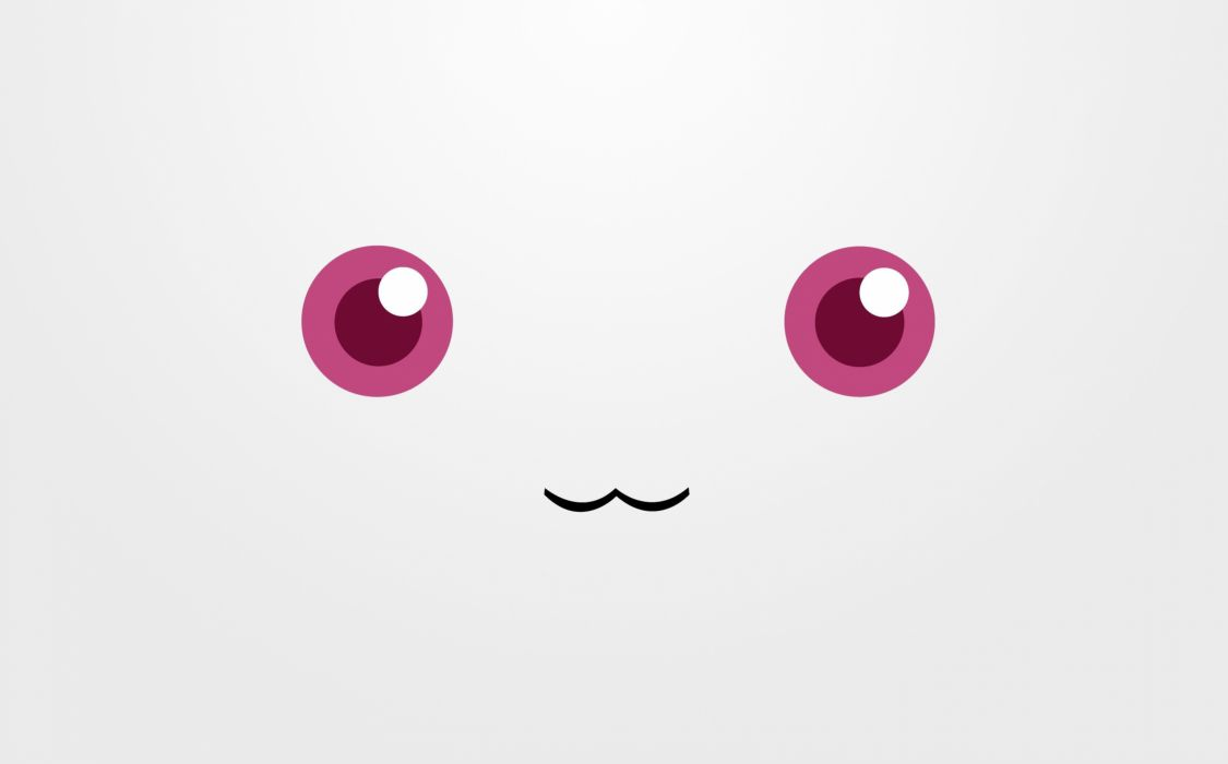 red eyes Mahou Shoujo Madoka Magica anime faces simple Kyubey 3333x2075 wallpaper