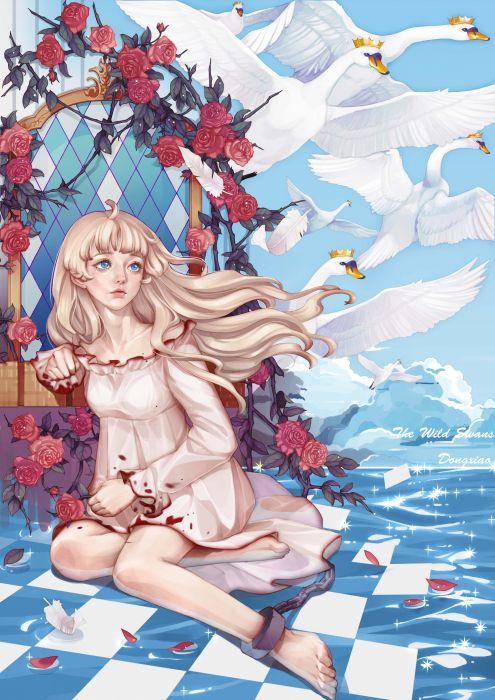 dong xiao original anime girl rose beautiful dress wallpaper