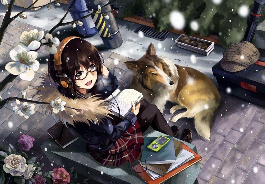anime women females girls asian oriental blossoms flowers animals dogs magical artistic cute 1900x1324 1900x1324 wallpaper