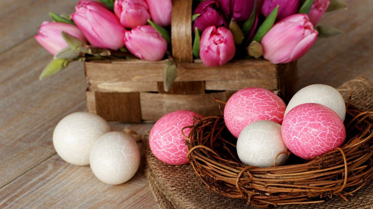 huevos pintados rosa blancos pascua wallpaper