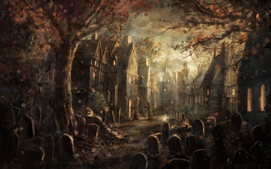 halloween noche cementerio wallpaper