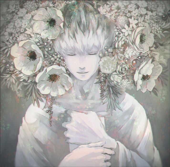 tokyo ghoul anime flower white boy wallpaper