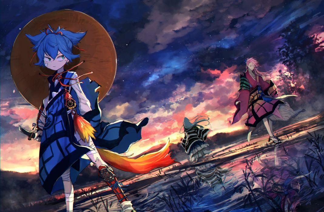 touken ranbu anime series boys characters original swords wallpaper