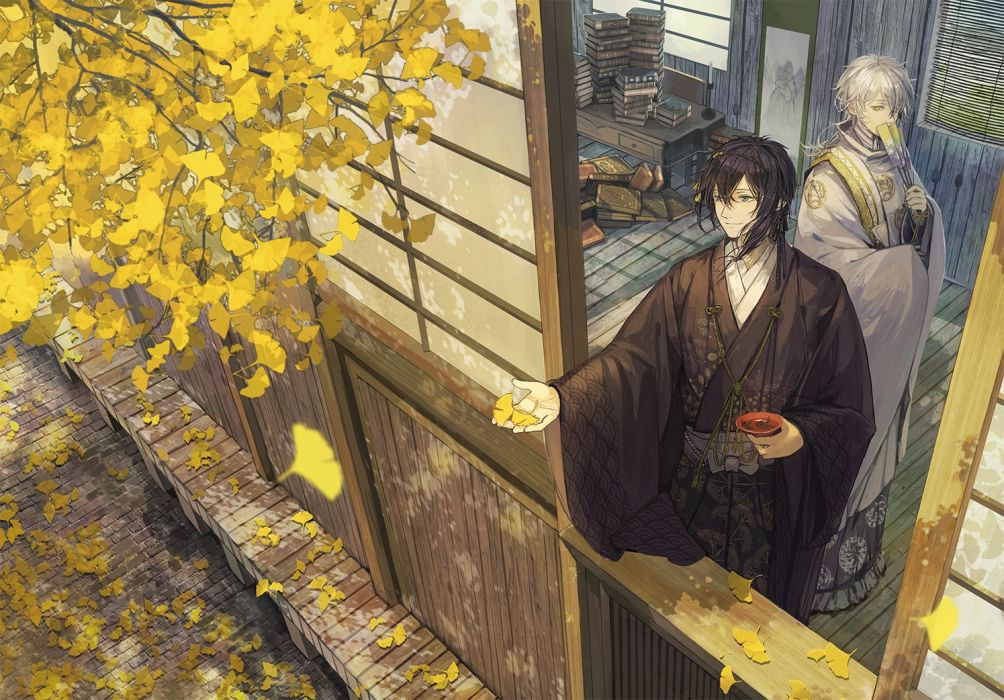 touken ranbu anime series guys autumn beauty wallpaper
