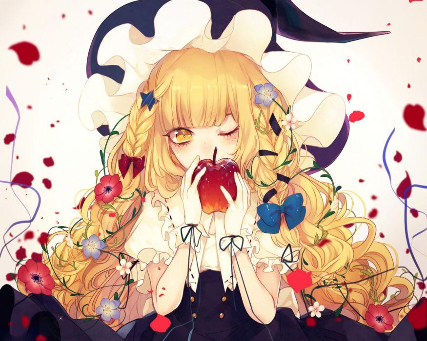 touhou witch blonde anime girl flower original wallpaper